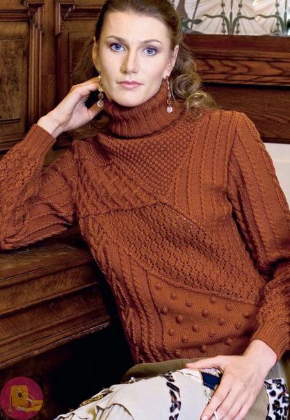 Шикарный вязаный пуловер с фантазийным узором 0