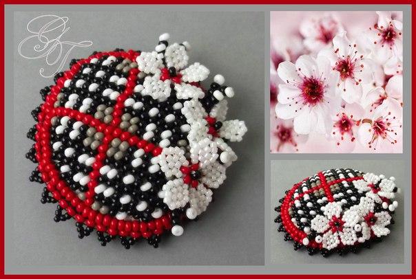Схемы для вышивки брошей с цветами 6