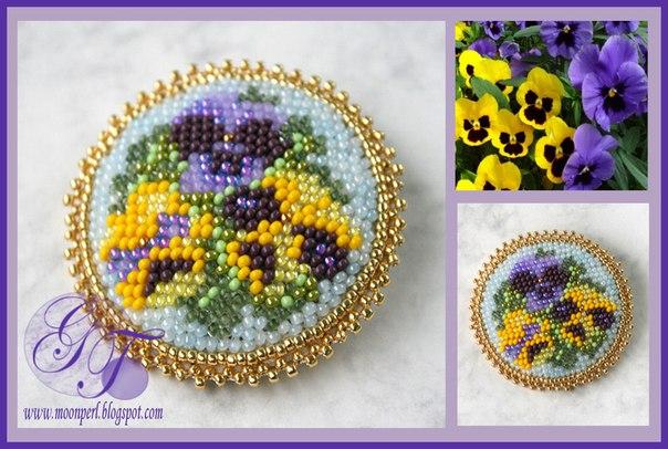 Схемы для вышивки брошей с цветами 4