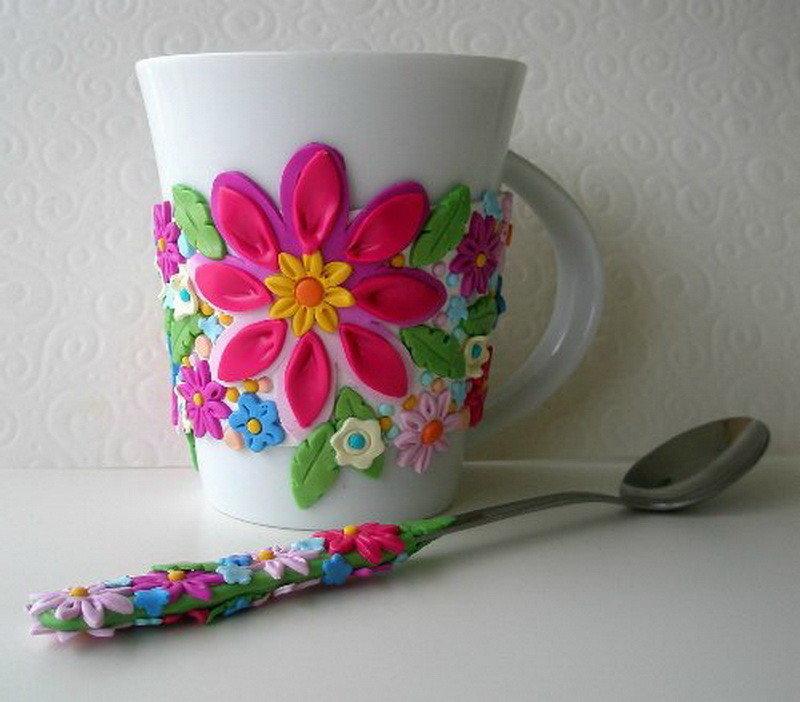 Чашка с цветами из полимерной глины: идеи и техники 1