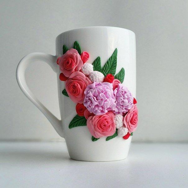 Чашка с цветами из полимерной глины: идеи и техники 4