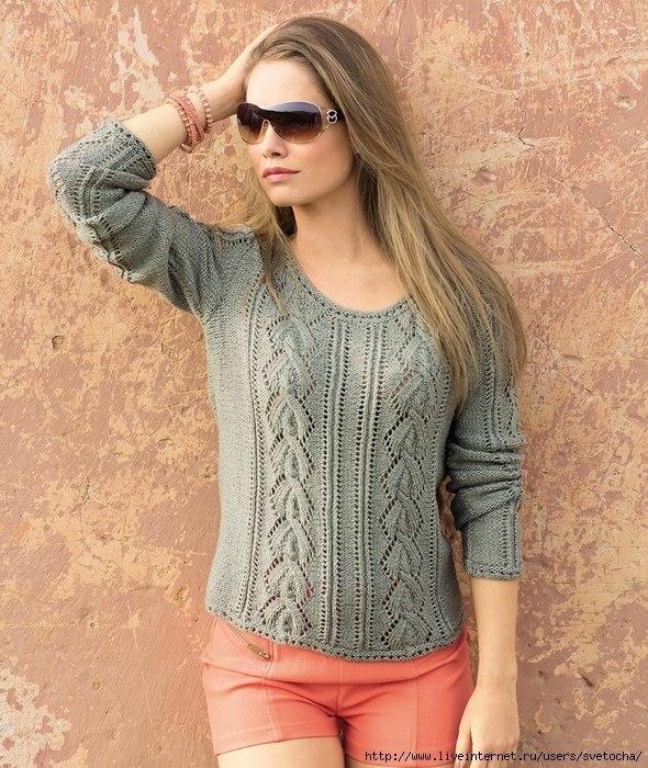 Пуловер с ажурными косами 0