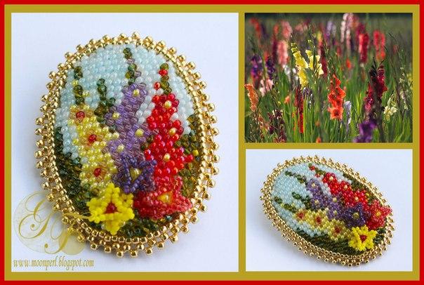 Схемы для вышивки брошей с цветами 8