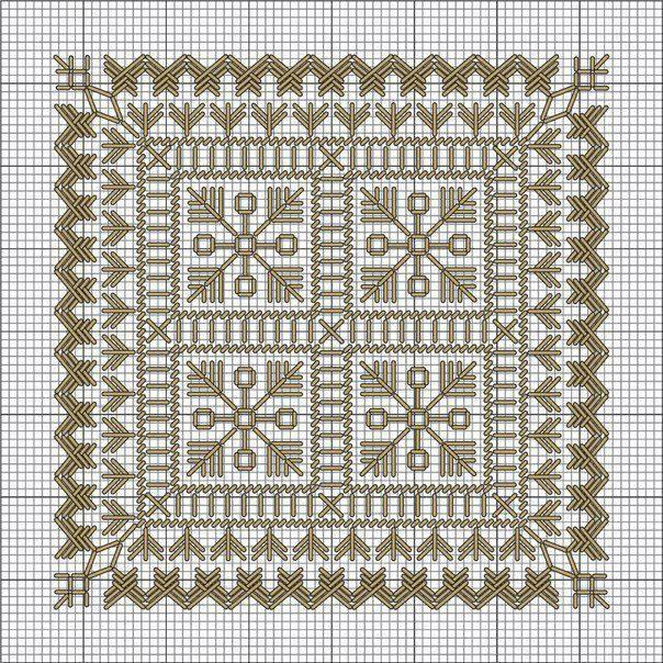 Красивая вышивка для нарядных салфеток 3