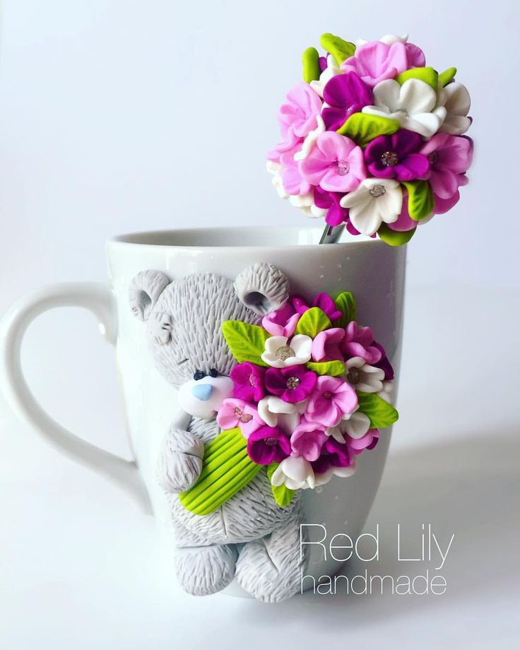 Чашка с цветами из полимерной глины: идеи и техники 0