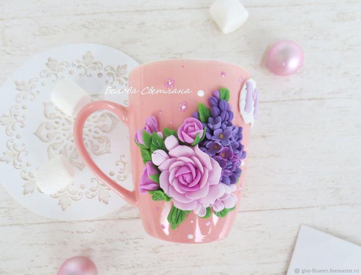 Чашка с цветами из полимерной глины: идеи и техники 2