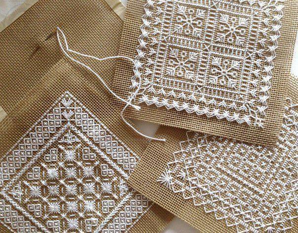 Красивая вышивка для нарядных салфеток 0