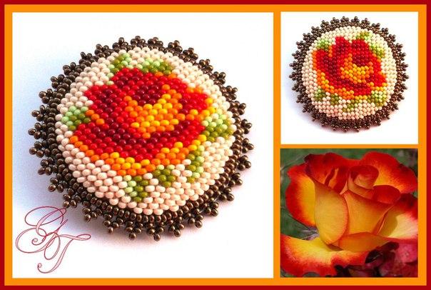 Схемы для вышивки брошей с цветами 0