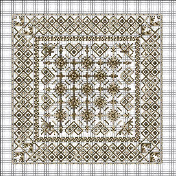 Красивая вышивка для нарядных салфеток 1