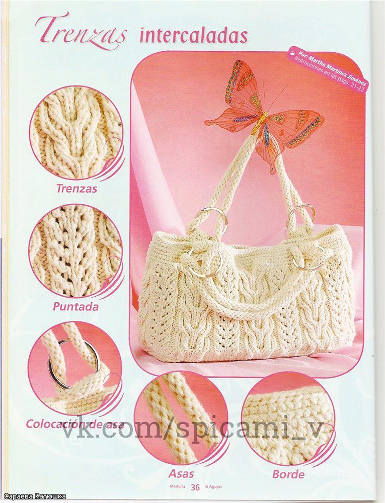 узорная красивая вместительная вязаная сумка на лето сделай сам