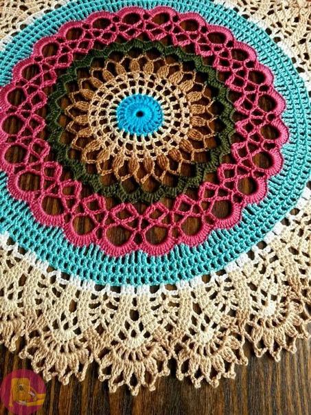 Цветные ажурные салфетки крючком 0