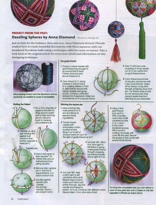 Вышивка японского шара темари: мастер-класс 5