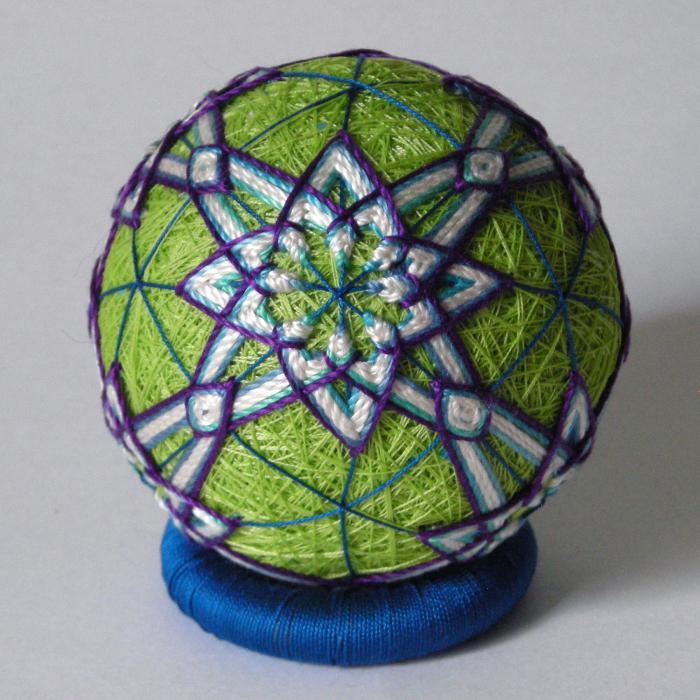 Вышивка японского шара темари: мастер-класс 3