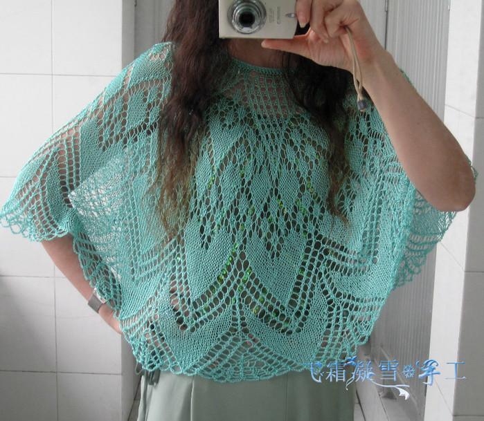 Ажурный романтичный узор для юбки или пончо 0