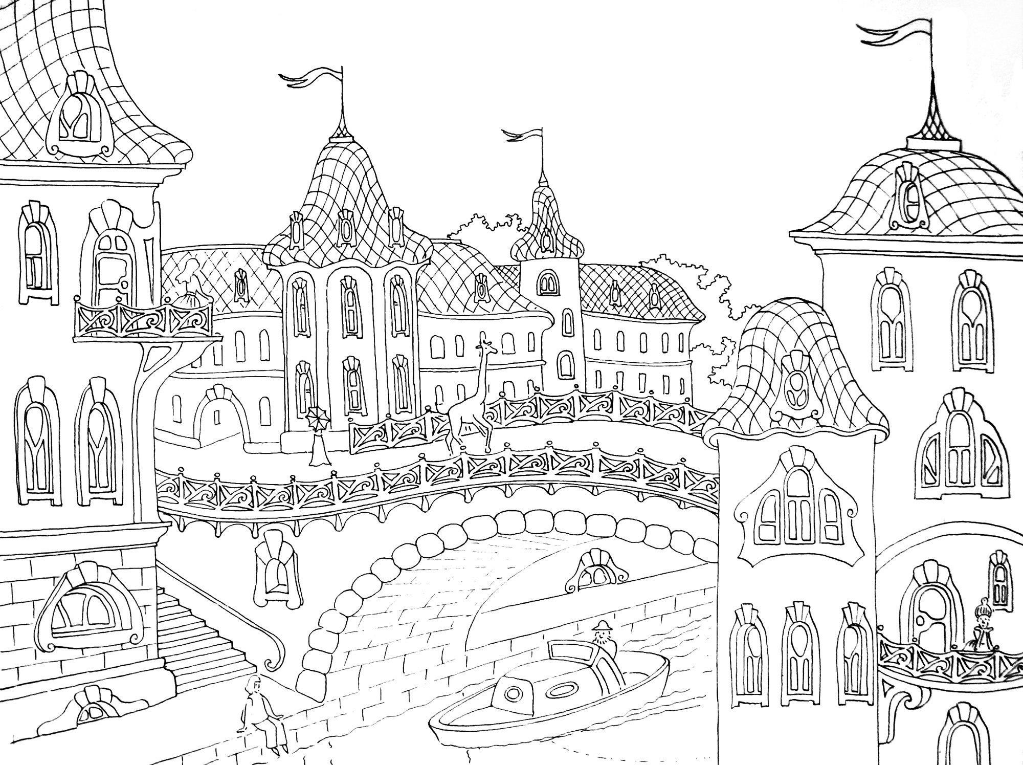 Сложные раскраски для взрослых по теме Город — Сделай сам ...