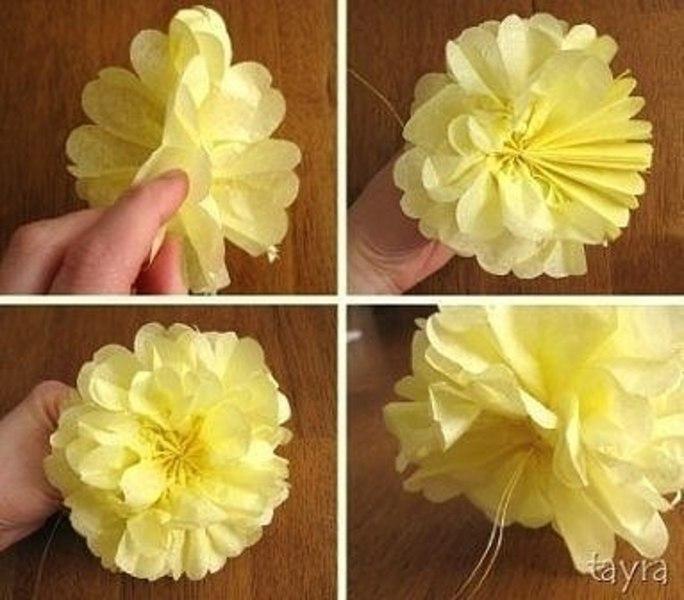 Крупный цветок своими руками из салфеток