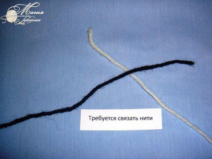 Незаметный узелок при вязании