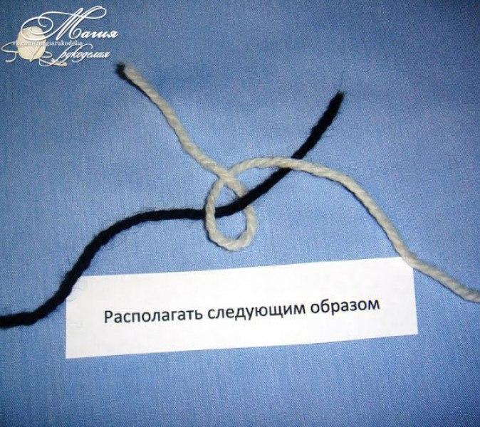 Учимся делать промышленный узелок для соединения нитей при вязании