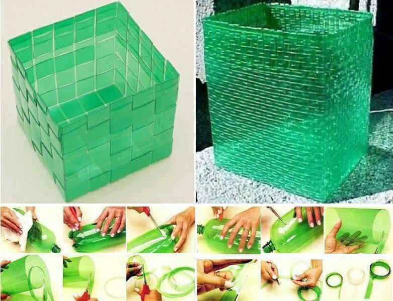 Короб из пластиковых бутылок мастер класс