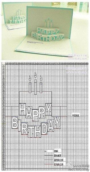 Открытки с днем рождения своими руками схема