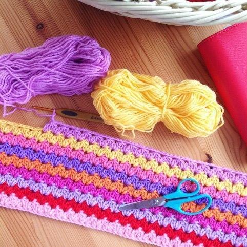 Вязание красивый узор для пледа крючком 75