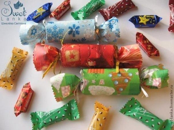 Как сделать новогоднюю игрушку конфету из бумаги