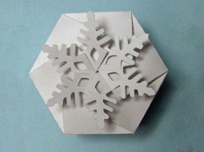 Как сделать коробку снежинку