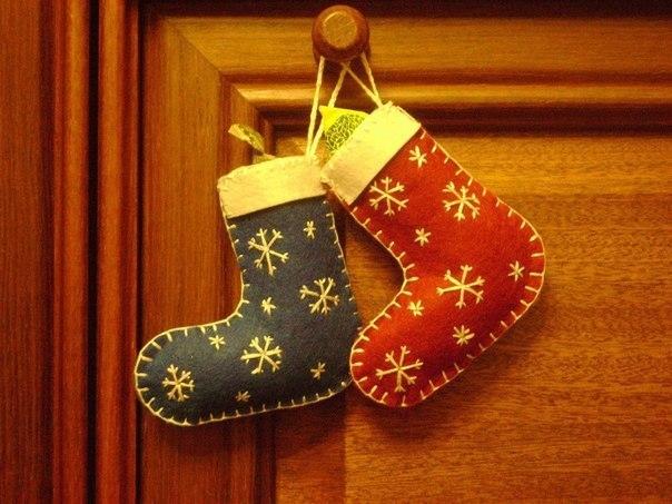 Рождественский носок из фетра своими руками