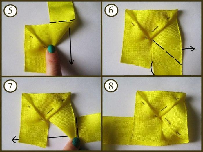 как скрепить ниткой розу из атласной