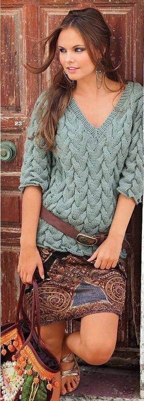Вязание косы из 15 петель
