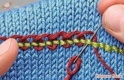 вышивка по вязаному полотну сделай сам идеи для творчества Diy