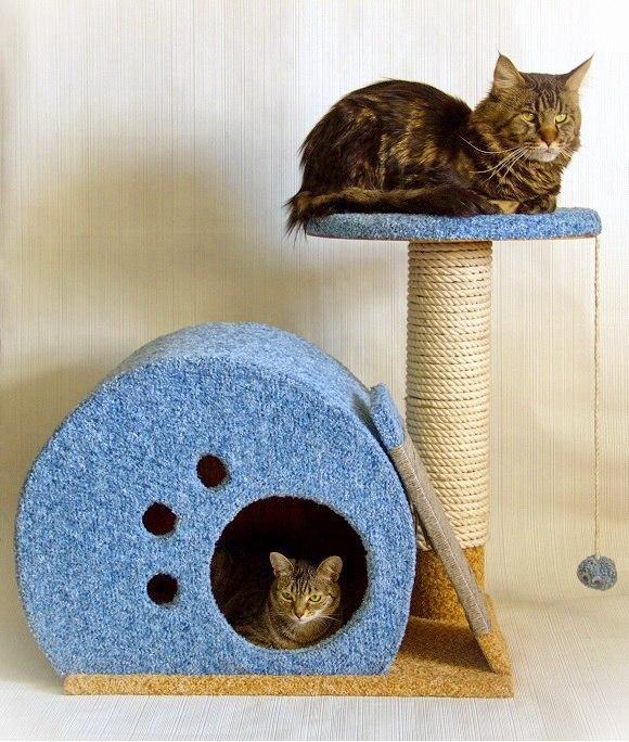 Как сделать домик для кошки своими руками из дерева