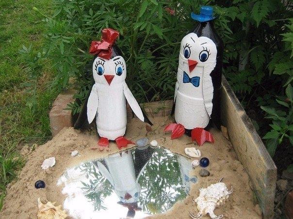Поделки в саду своими руками из бутылок фото