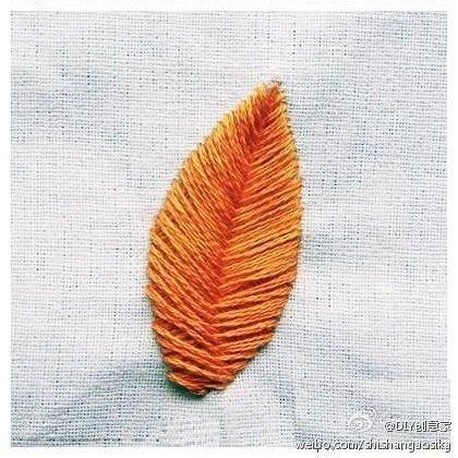 """刺绣教程:平绣""""叶子"""" - maomao - 我随心动"""