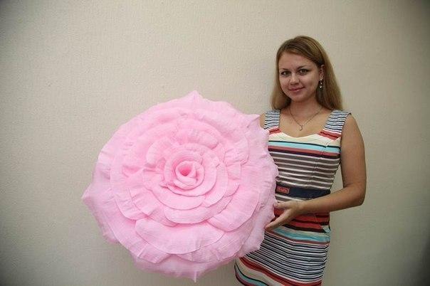 Большой цветок из гофрированной бумаги своими руками мастер класс
