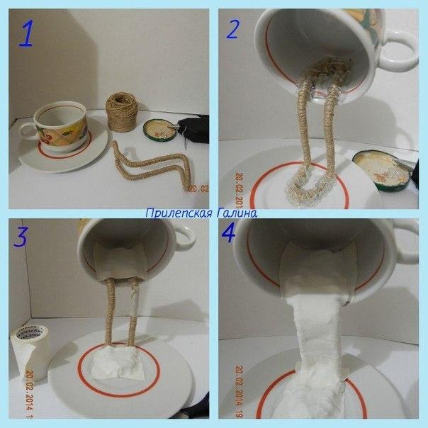 Топиарий с чашкой и блюдцем как сделать