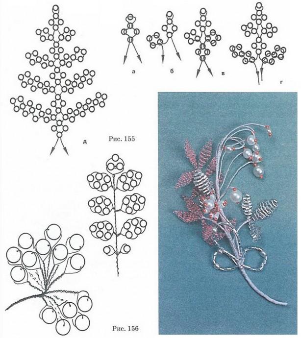 Схемы цветочных брошек из бисера
