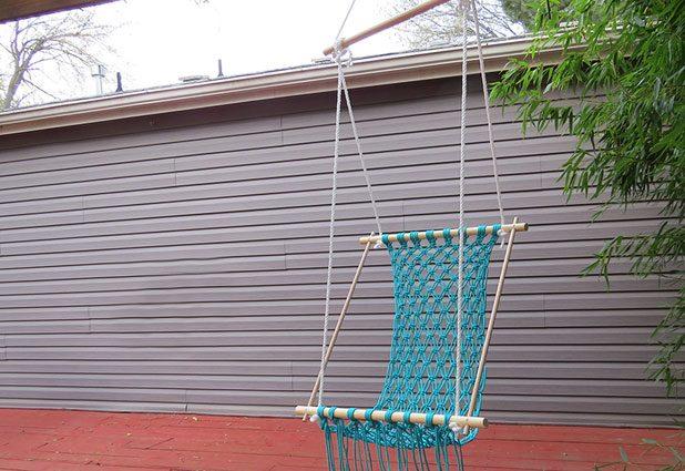 Плетеный гамак для дачи или балкона 0