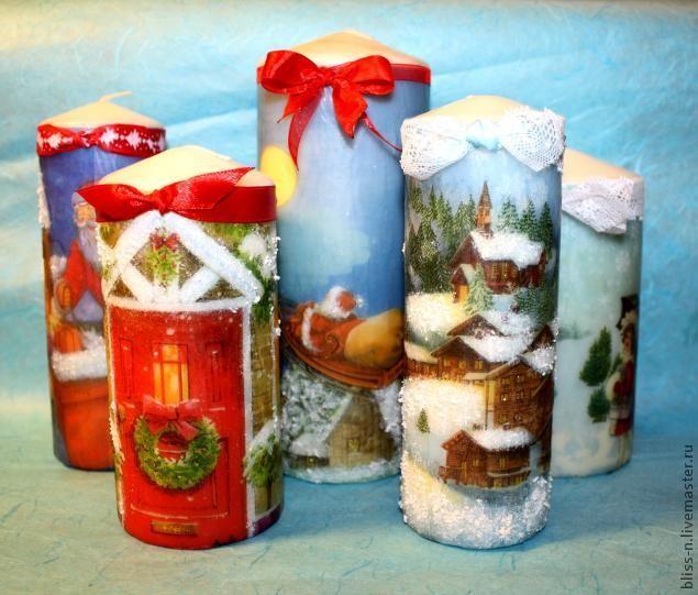 Декупаж новогодних свечей