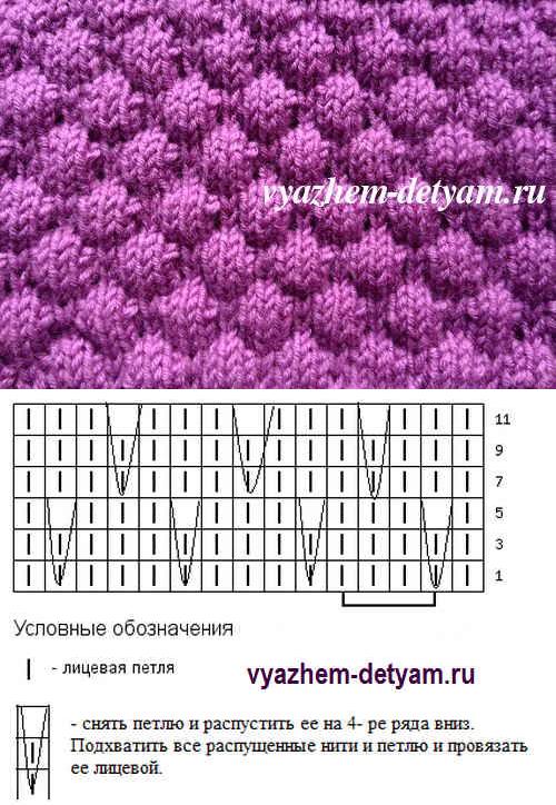 Рисунок пузырьки схема вязания