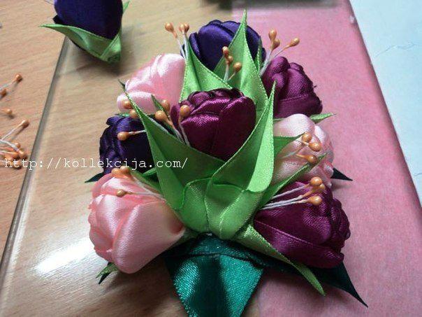 Тюльпаны из атласной ленты: мастер-класс 8