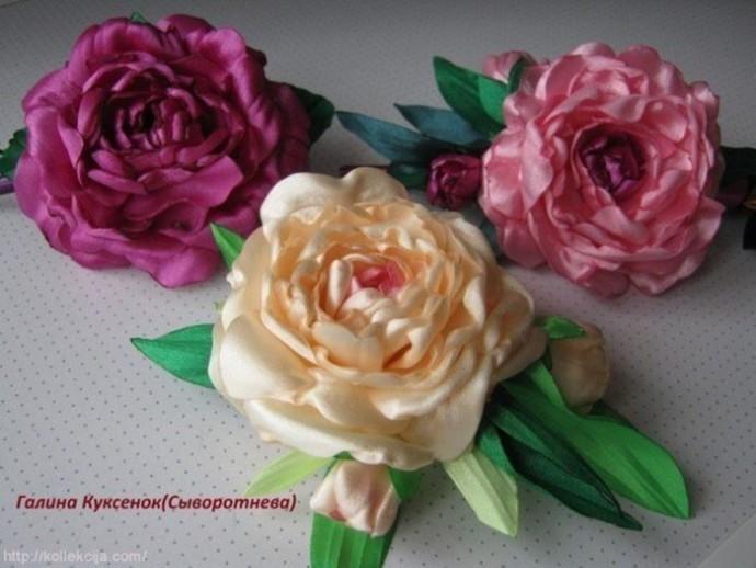 Розы из атласных лент: мастер-класс