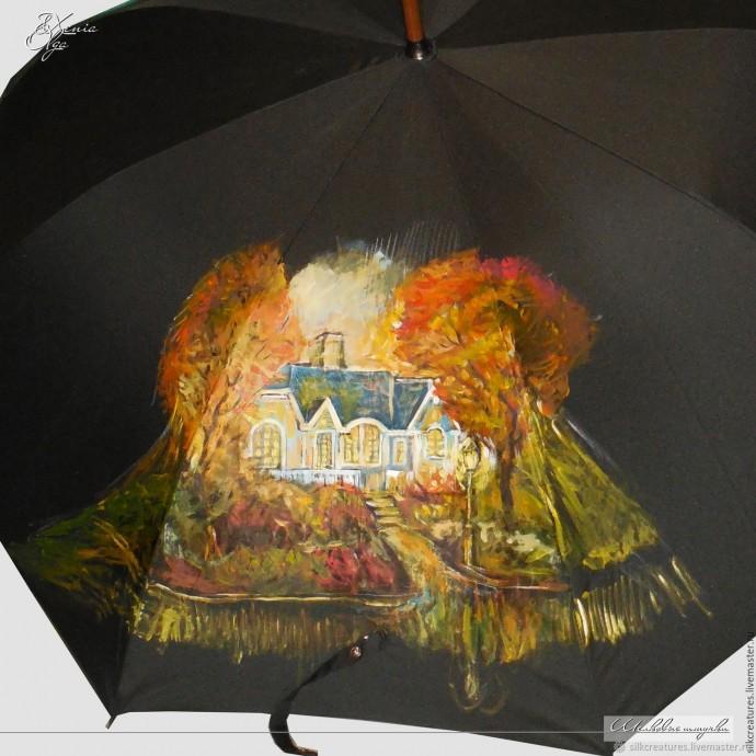Роспись зонта акриловыми красками по ткани