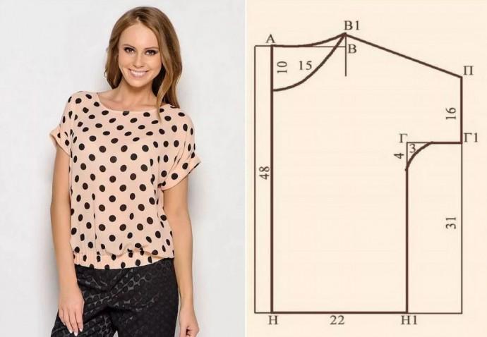 Выкройка интересной трикотажной блузки