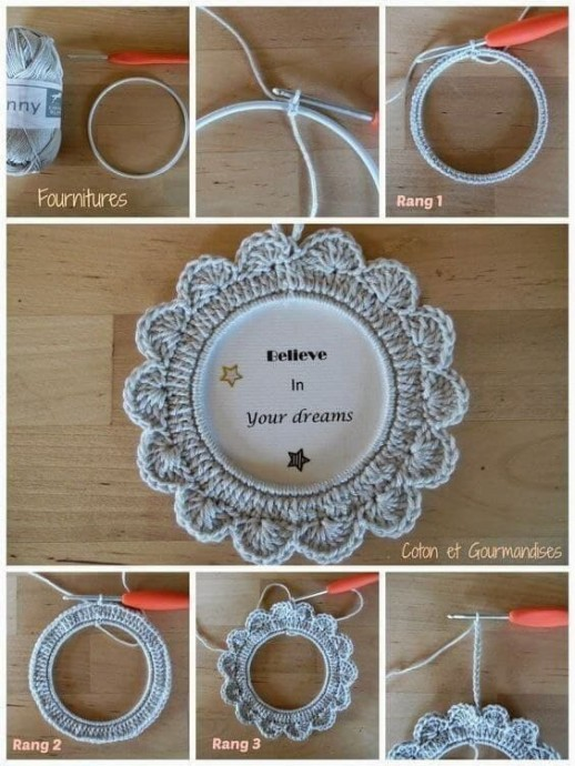 Вяжем рамочки для декора интерьера крючком
