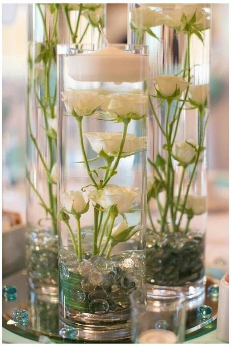 Декоративные композиции с цветами и свечами