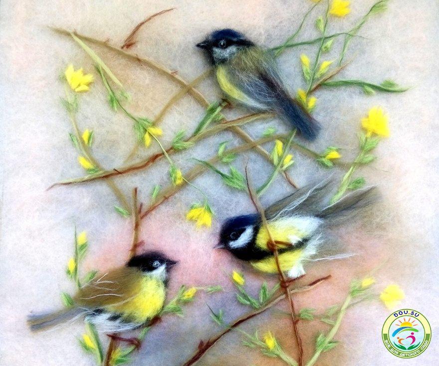 Изумительные картины шерстью: птицы 8