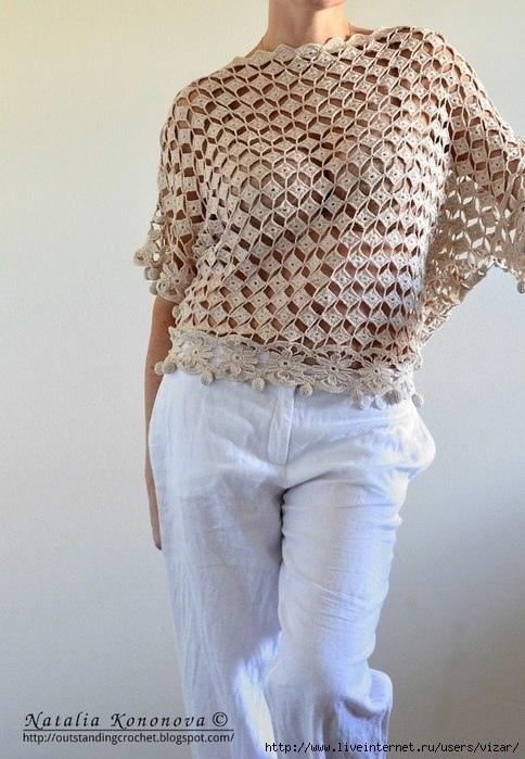 Безотрывное вязание: ажурная кофточка 0