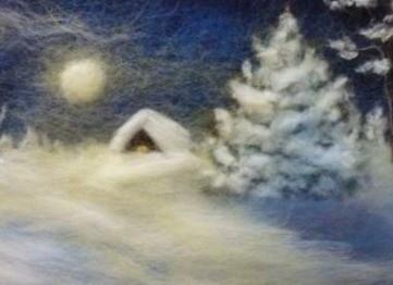 """Картина из шерсти """"Ночь на окраине деревни"""""""