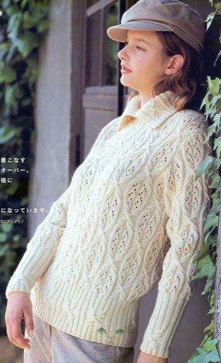 Пуловер с очень красивыми узорами 1